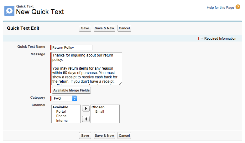 Sample quick text