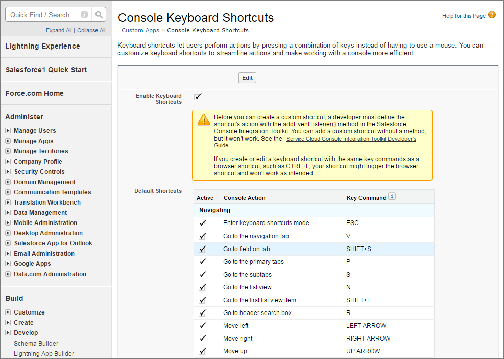 A screen shot of the console keyboard setup page