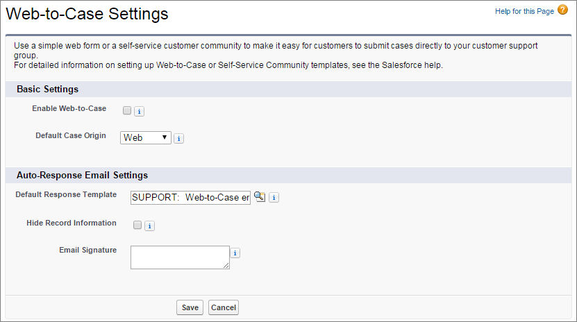 A screen shot of the Web-to-Case settings page.