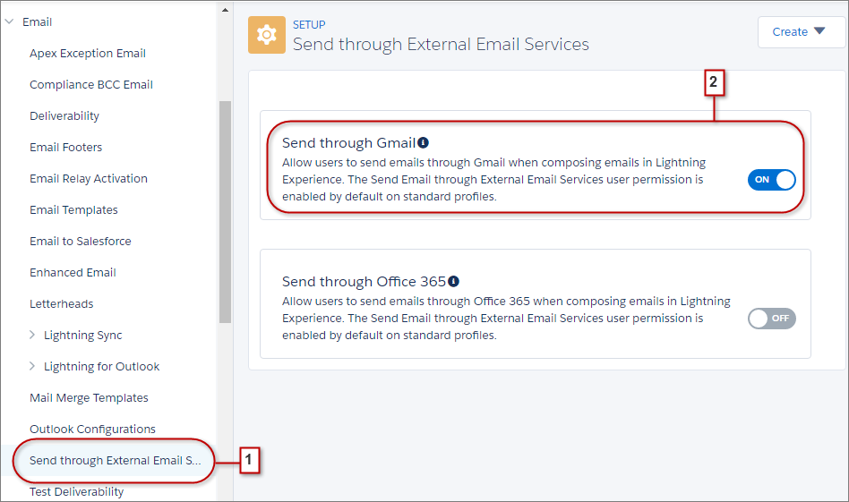 Settings for Send Through External Email Services