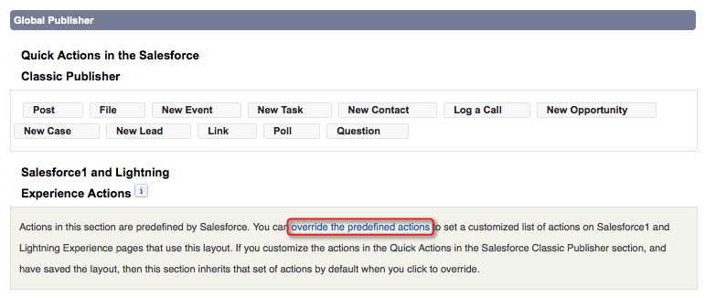 A screenshot of the Override Predefined Actions link in the Publisher