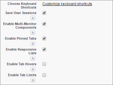 A screen shot of the customize keyboard shortcuts link in setup