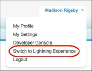 Switcher in the Salesforce Classic header