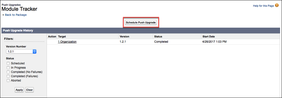 The Push Upgrade History section, where you click Schedule Push            Upgrade.