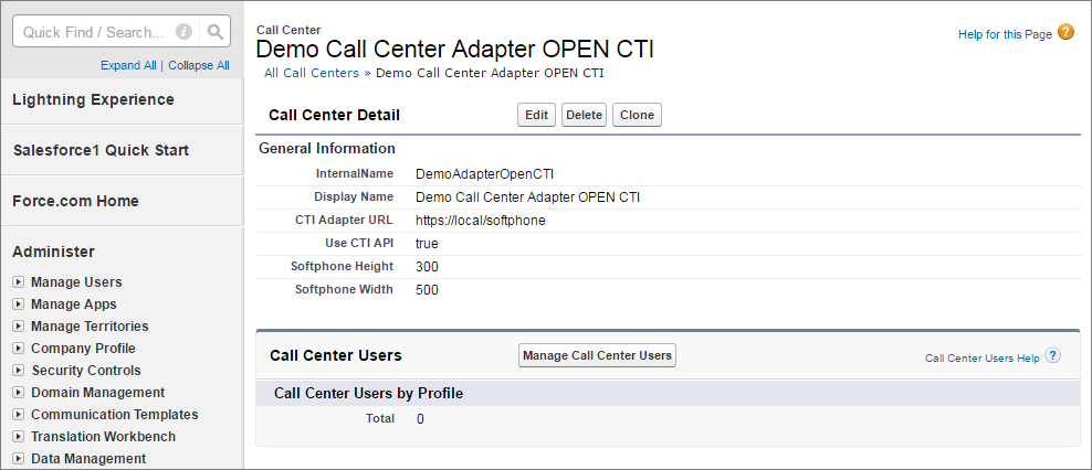 A screenshot of Call Center in Setup with detail information appearing.