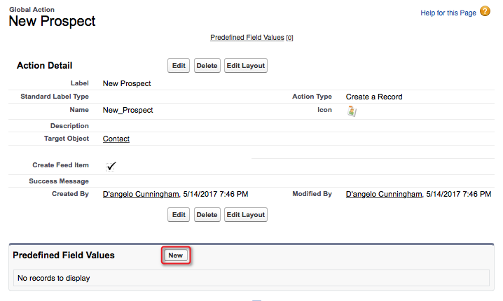 A screenshot of the New button in the Predefined Field Values list