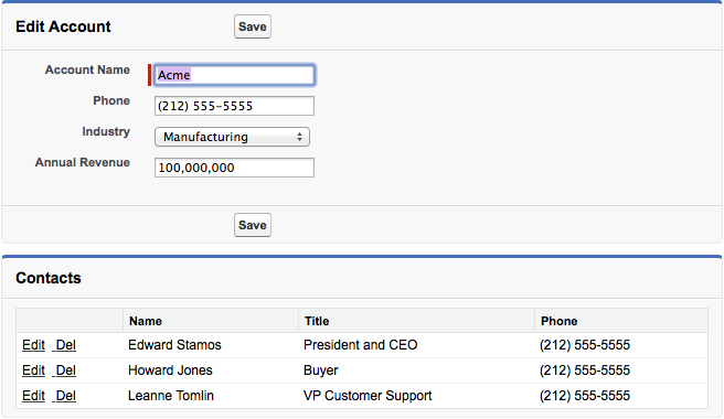 Edit account with related contact records