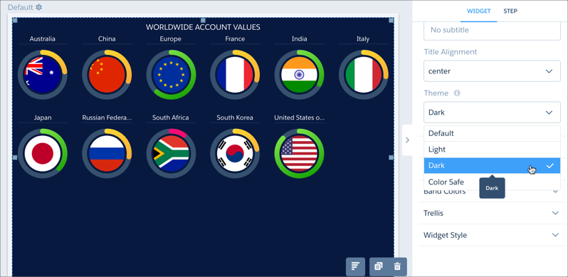 analytics dashboard designer theme selection menu