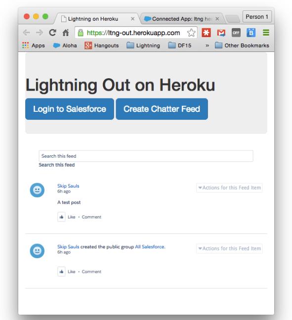 Lightning Out on Heroku dialog