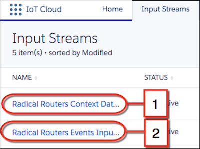 Two input streams: one for Radical Router context data and one for Radical Router event data.
