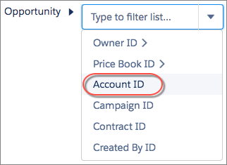 Select Opportunity > Account ID