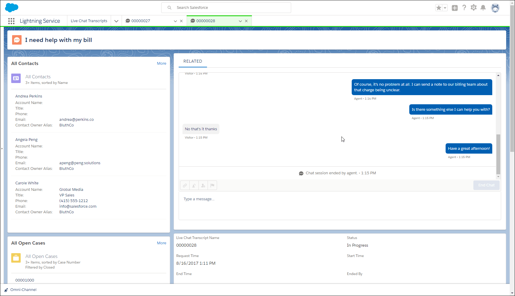 Snap-ins Chat in Service Console
