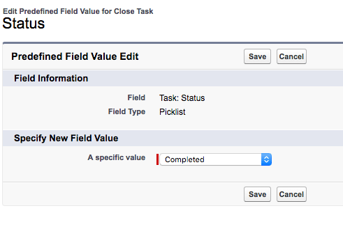 Set predefined field value for Status