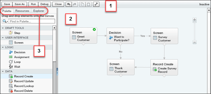 Screenshot of the Cloud Flow Designer's user interface with numbers pointing at the button bar, left side panel, and canvas