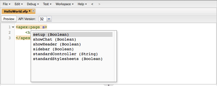 Auto-suggest for Visualforce attribute values