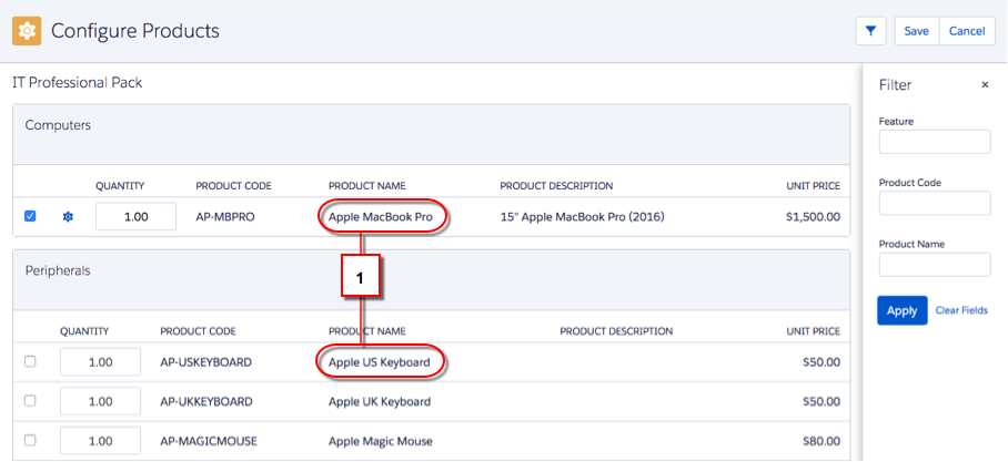Configure Products screen with product name highlighted twice