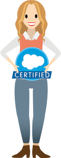 A woman holding a Salesforce certified badge
