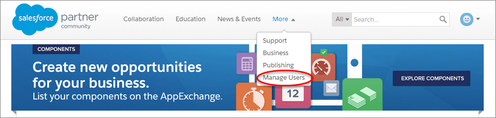 A view of the Manage Users link on the Partner Community homepage