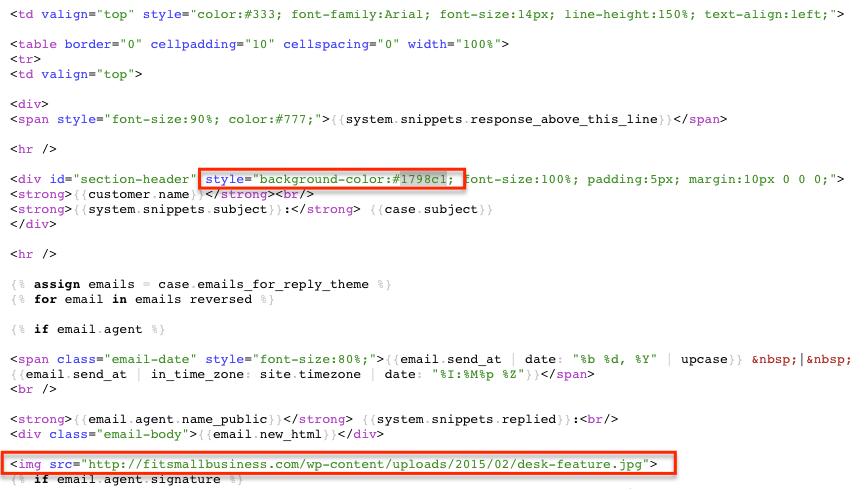 template editor code