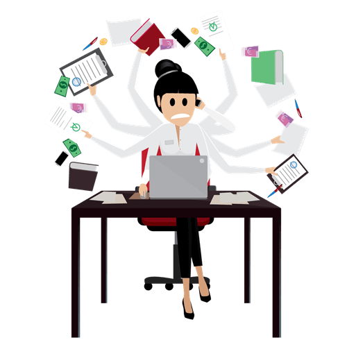 A nonprofit professional at her desk, overwhelmed by all the work to do