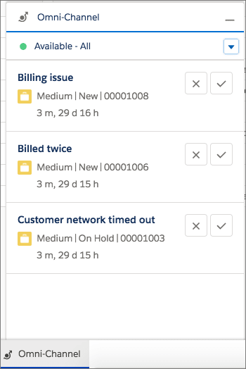 Work requests appear in the Omni-Channel utility. Depending on your Omni-Channel settings, console users can accept or decline the work request.
