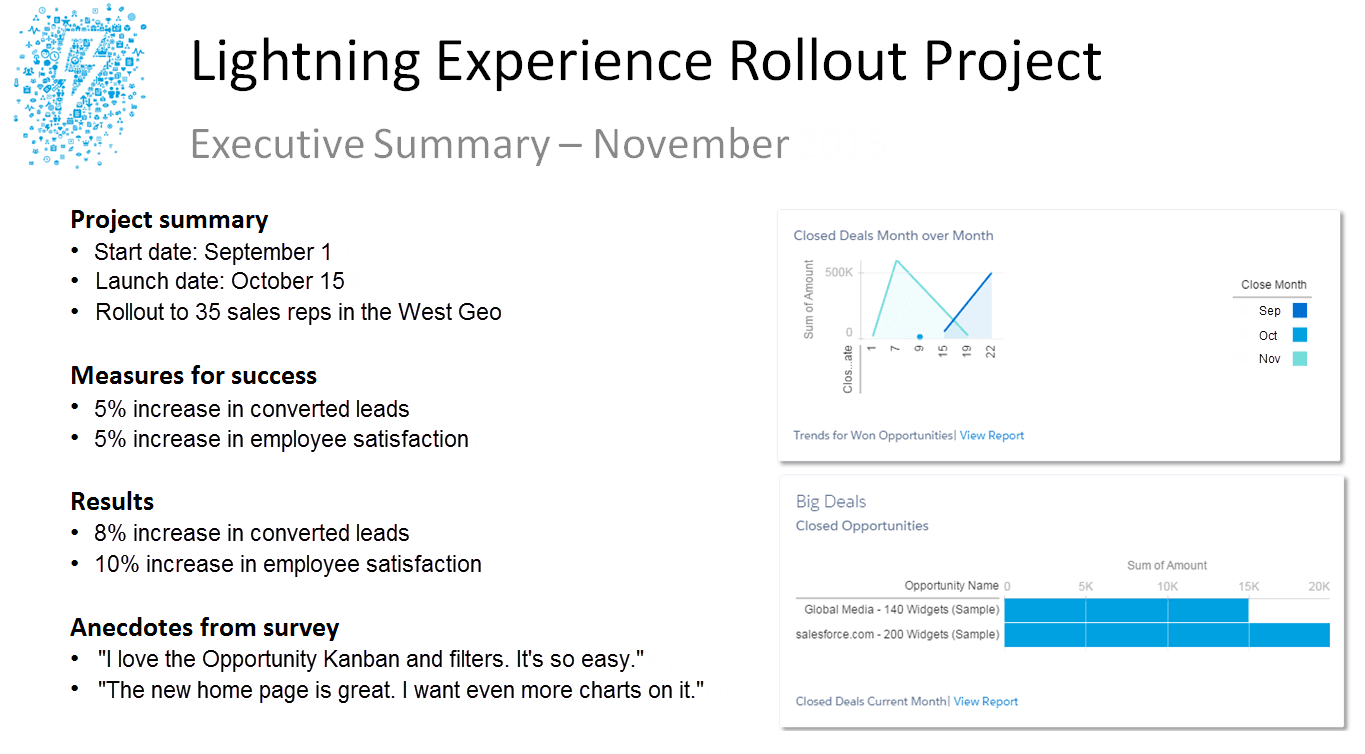 An example Executive Summary of a Lightning Experience rollout strategy.