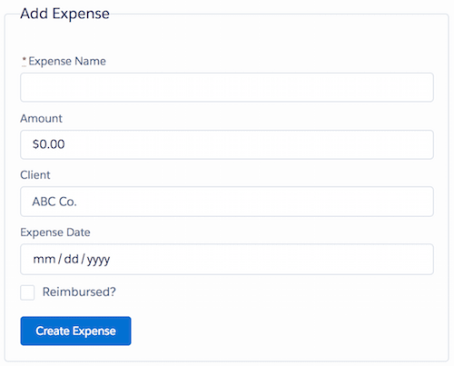 New Expense form