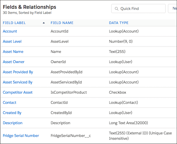 Fields and Relationships page with the Fridge Serial Number field