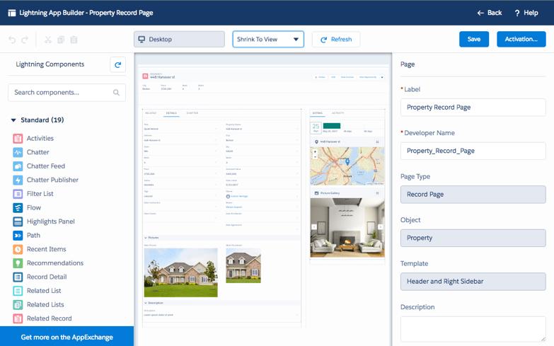 The Lightning App Builder interface