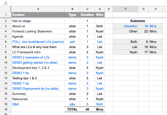 Screenshot of show flow spreadsheet.