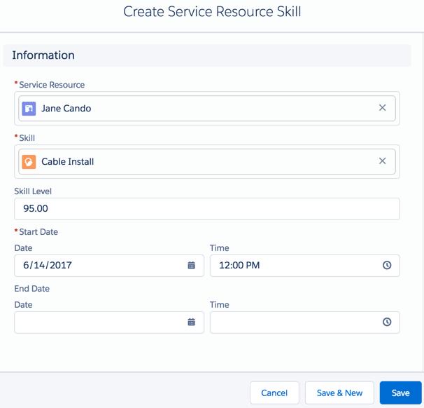 Create a Service Resource Skill dialog