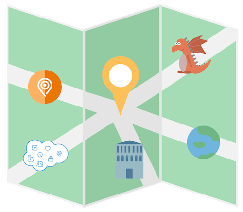 A roadmap with five roads representing Marketing Cloud practice growth paths and pitfalls: focus on Marketing Cloud solutions, encounter dragons, expand geographically, target different industries, and deliver end-to-end cross-product solutions.