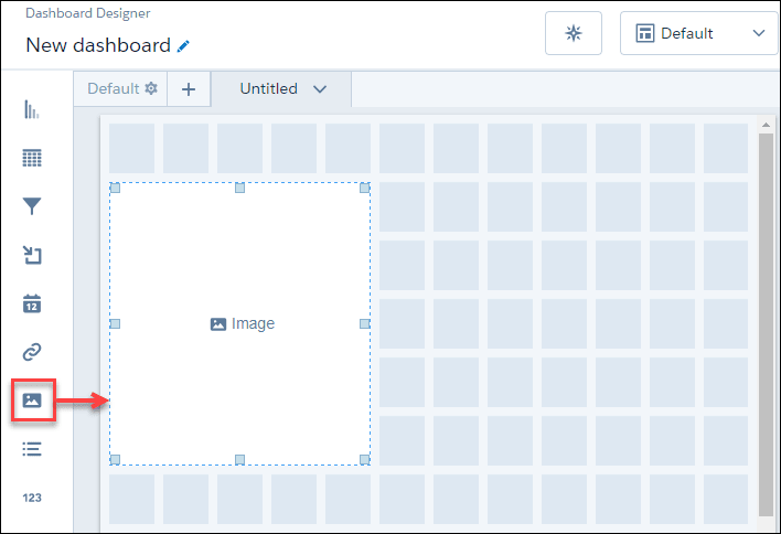 analytics dashboard designer with image widget on canvass