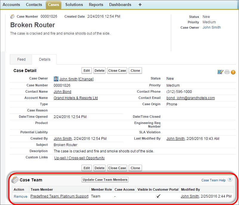 A screen shot of a console showing a case with a case team.