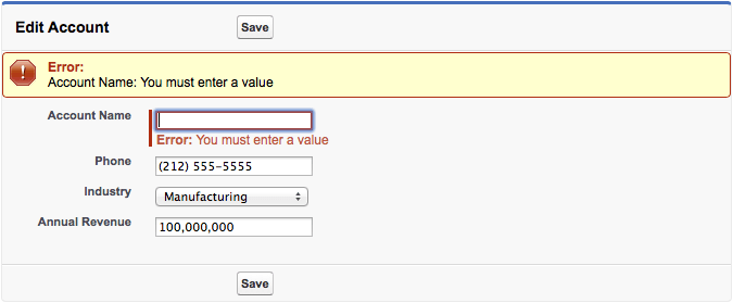 Edit account with page error messages