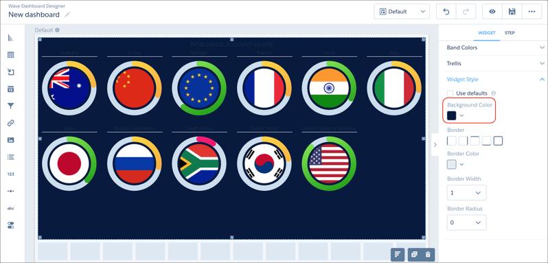 analytics dashboard designer background color setting