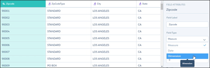 data preview screen setting zipcode to dimension type