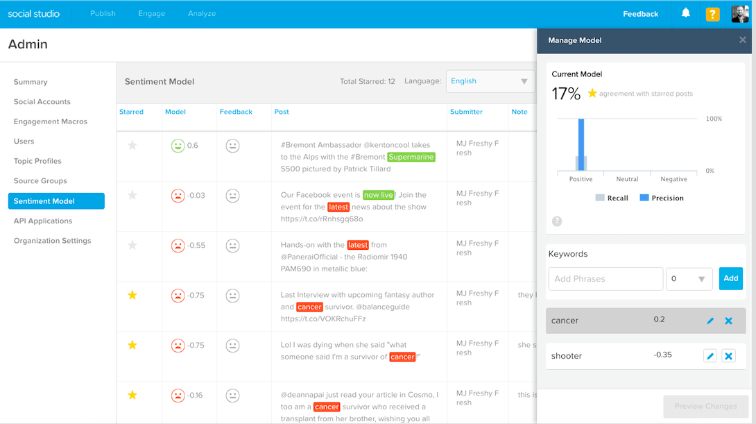 Screenshot of Sentiment Insights 2