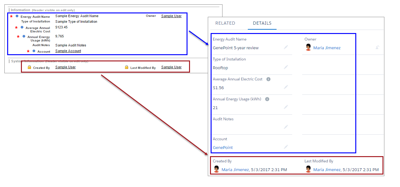 Page layout versus Details section