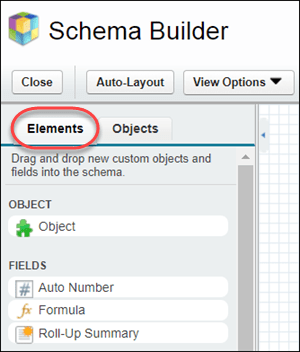 The Schema Builder pane, with the Elements tab highlighted