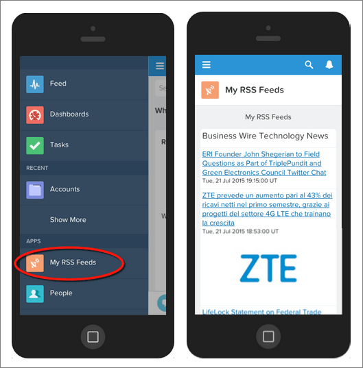 An view of the finished mobile app