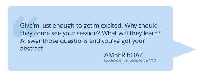 'Give'm just enough to get'm excited...' Amber Boaz (CodeScience, Salesforce MVP)