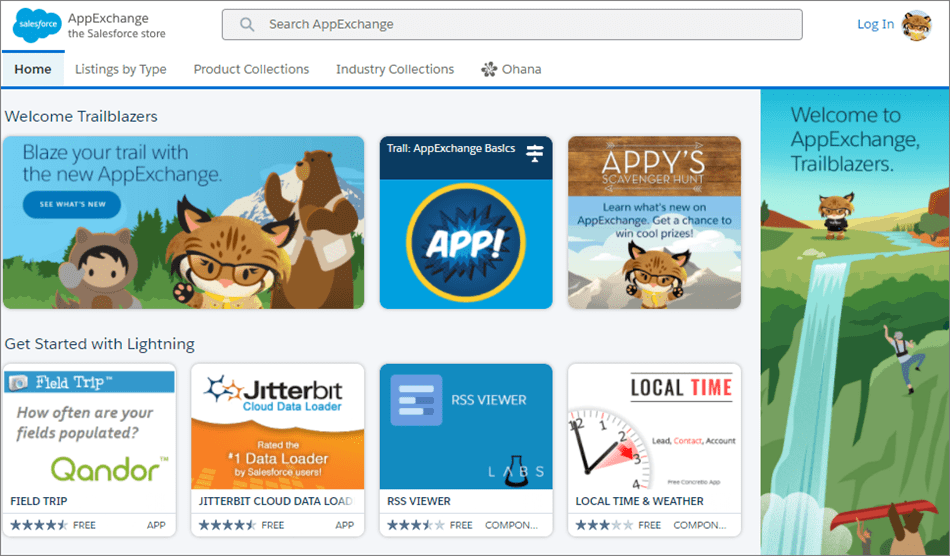 The AppExchange is a huge catalog of Salesforce apps by partners.