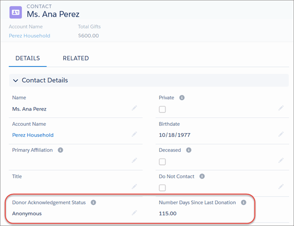 Custom fields on a contact record for tracking Donor Acknowledgement Status