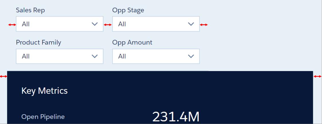 The spacing between the widgets increased.