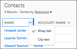 Column header with arrow clicked to show Wrap text and Clip text options