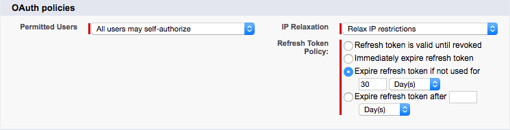 Screenshot of the connected app's OAuth policies