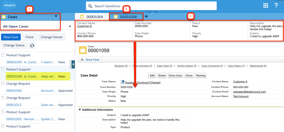 Service Cloud console with highlighted elements.