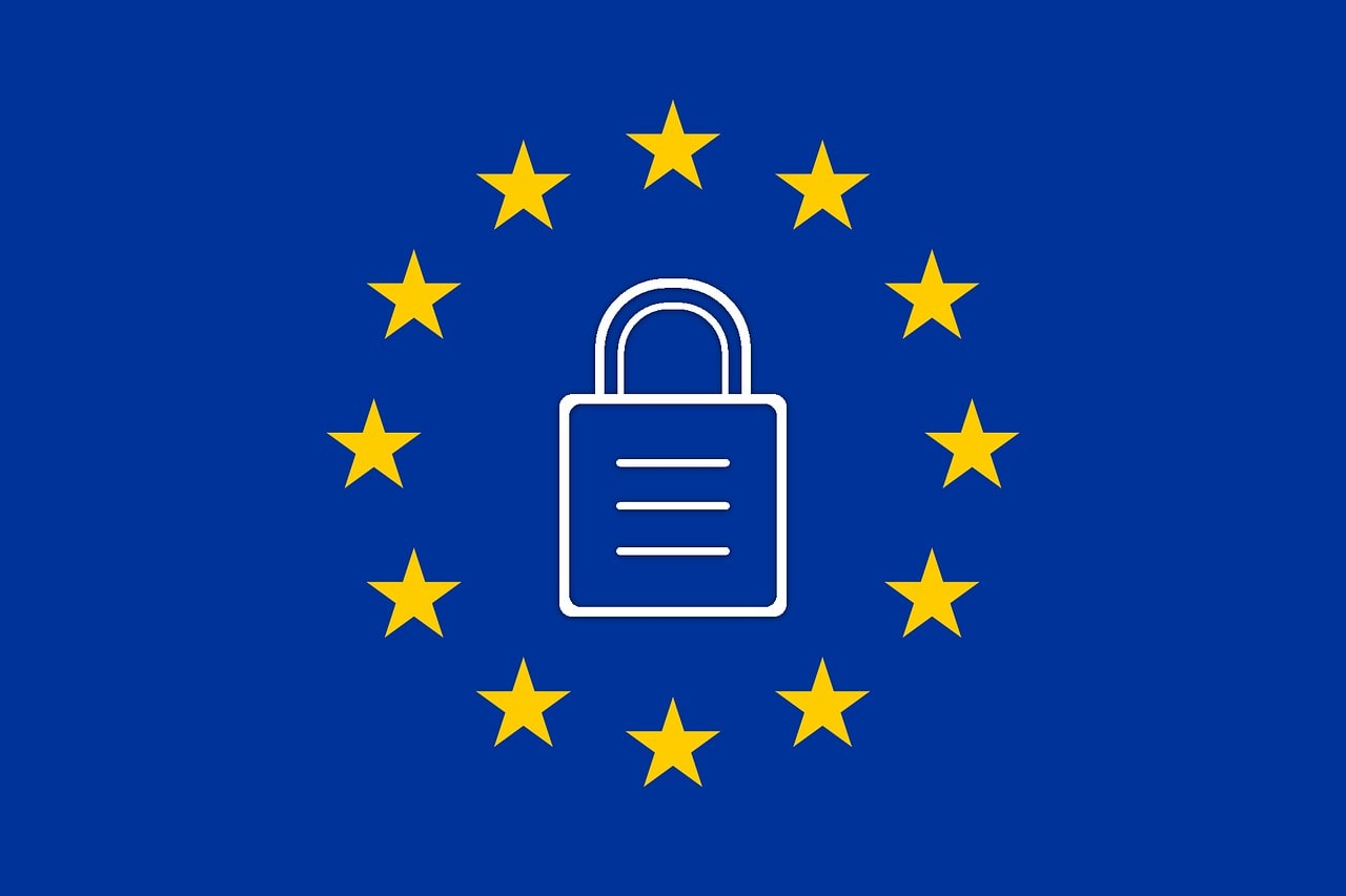 European Union flag stars around a lock
