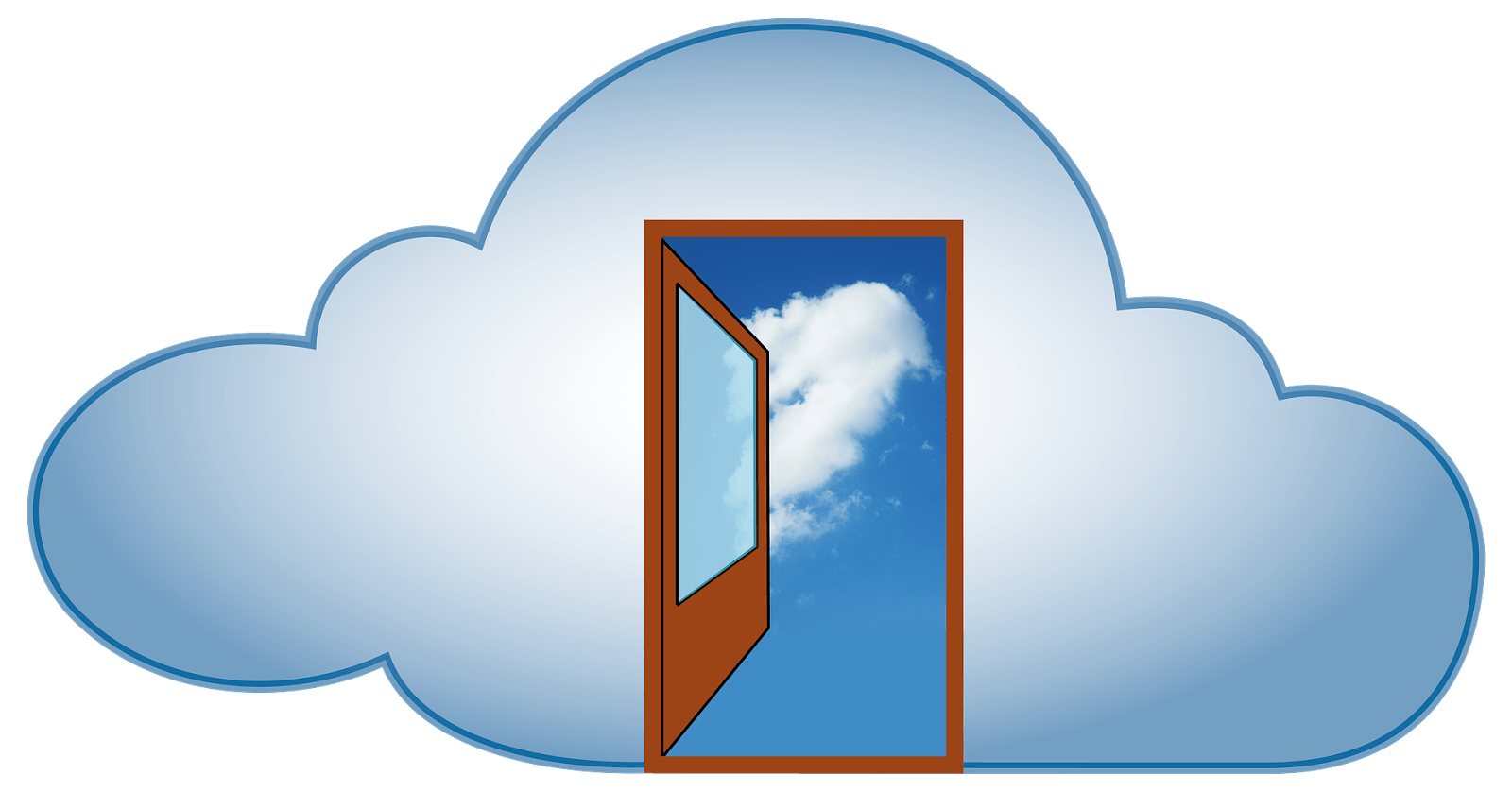 Open door in a cloud